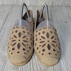 Tory Burch Cut-Out Leather Espadrilles, Beige